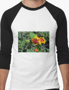 Natural background with colorful flowers and green leaves. Men's Baseball ¾ T-Shirt