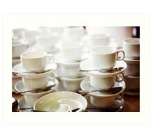 Coffee cups in a bar Art Print