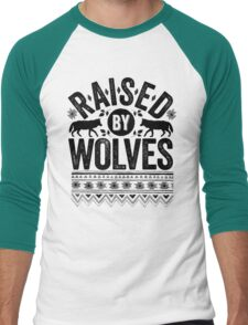 Raised By Wolves {Black + White} Men's Baseball ¾ T-Shirt