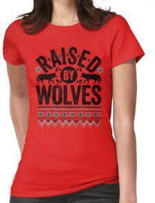 Raised By Wolves {Black + White} Womens Fitted T-Shirt