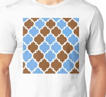 MOROCCAN BROWN AND BLUE PATTERN Unisex T-Shirt