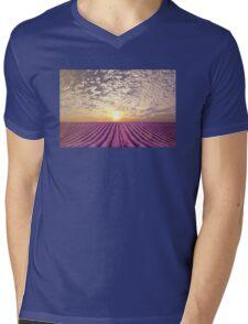 Sunset over a summer lavender field in Provence, France Mens V-Neck T-Shirt