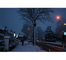 Nighttime at Christmas in the snow Photographic Print