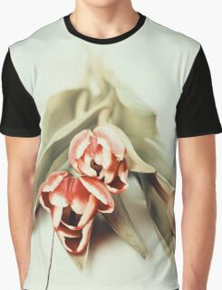 Flowers Bouquet Of Spring Wet Tulips On Table Graphic T-Shirt