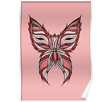 Pink and red butterfly Poster