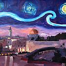 Starry Night in Jerusalem over Wailing Wall by artshop77