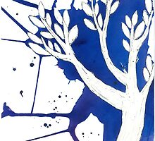 Blue Tree Ink Drawing by RachelSheree