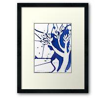 Blue Tree Ink Drawing Framed Print