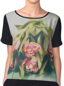 Flowers Bouquet Of Spring Wet Tulips On Table Chiffon Top