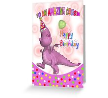 Cousin Birthday With Pink Dragon Drink And Balloon  Greeting Card