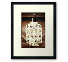 White vintage lace lantern Framed Print