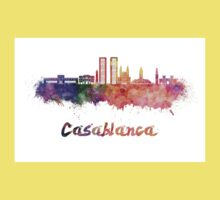 Casablanca skyline in watercolor Kids Tee