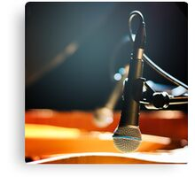 Stylish Microphone on a Blurred Colored Background Canvas Print