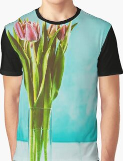 Wet Pink Tulip Flowers In Vase Graphic T-Shirt