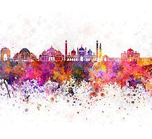 Delhi skyline in watercolor background Photographic Print