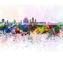 Kolkata skyline in watercolor background Photographic Print