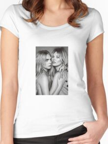 Cara Delevingne + Kate Moss Black and white Women's Fitted Scoop T-Shirt