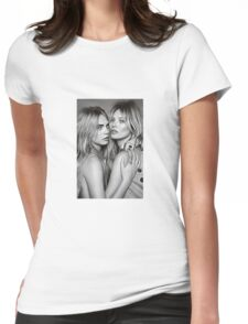 Cara Delevingne + Kate Moss Black and white Womens Fitted T-Shirt