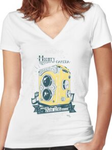 Mighty Camera Women's Fitted V-Neck T-Shirt
