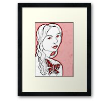 Girl with butterfly tattoo Framed Print