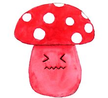 cute annoyed red mushroom watercolor painting  Photographic Print