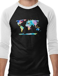 The Places We'll Go - Watercolor World Map Men's Baseball ¾ T-Shirt