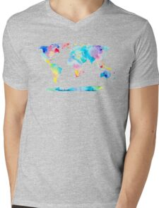 The Places We'll Go - Watercolor World Map Mens V-Neck T-Shirt