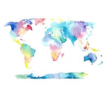 The Places We'll Go - Watercolor World Map Photographic Print