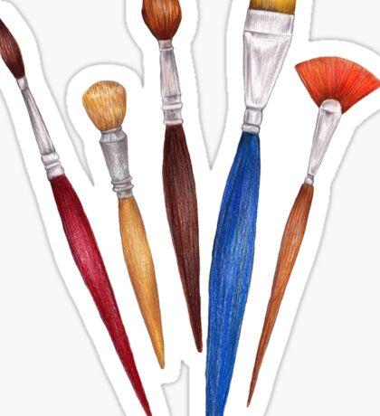 fan of brushes Sticker