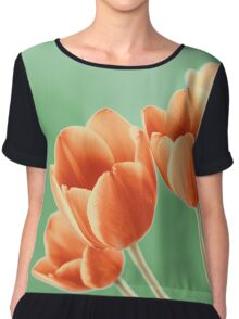 Red And Orange Tulips Flowers Bouquet Chiffon Top