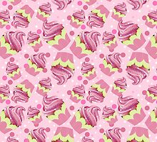 pink colour blend cupcake pattern throw pillow by Moonlake