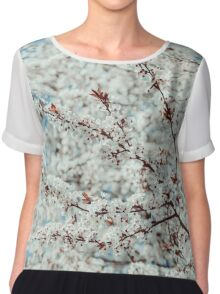 White Apple Tree Flowers Spring Blossom Chiffon Top
