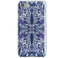 Deep Navy Blue Watercolor Damask iPhone Case/Skin