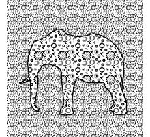 Floral Embossed Effect Elephant pattern Photographic Print