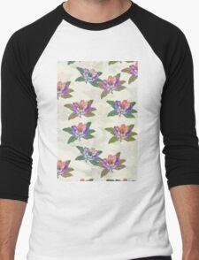Block Colour Floral Pattern Men's Baseball ¾ T-Shirt
