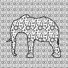 Floral Embossed Effect Elephant pattern by Moonlake