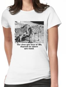 Zebra In A Bad Location Womens Fitted T-Shirt