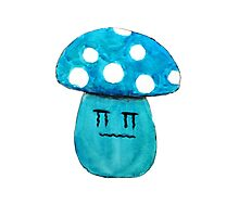 cute crying blue mushroom watercolor painting  Photographic Print