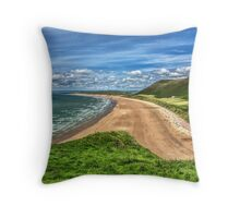 Rhossili Bay On The Gower Peninsula Throw Pillow