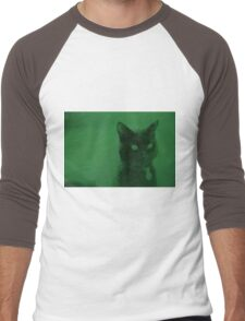 Spooky Cat - Green Men's Baseball ¾ T-Shirt