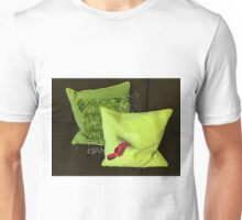 Water Pillow Sandwiched between Lime Green Pillows and Red Hose Ribbon Unisex T-Shirt