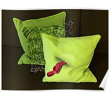 Water Pillow Sandwiched between Lime Green Pillows and Red Hose Ribbon Poster