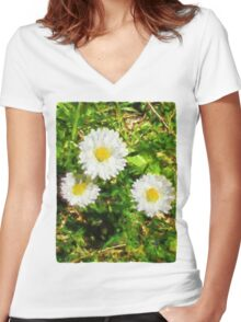 Three Daisies in the Sun Women's Fitted V-Neck T-Shirt