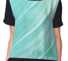 Turquoise Teal Abstract  Chiffon Top