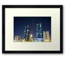 twin buildings Framed Print