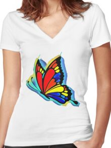 Bright and Bold Butterfly Art Women's Fitted V-Neck T-Shirt