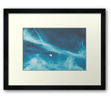 Airplane Flying To The Moon Concept On Blue Sky With Clouds Framed Print