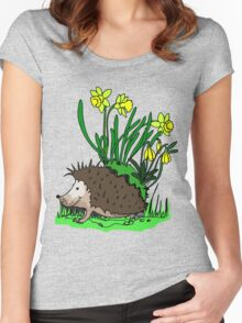 hedgehog with flowers Women's Fitted Scoop T-Shirt