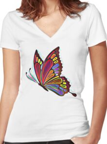 Colorful Abstract Butterfly Art Women's Fitted V-Neck T-Shirt