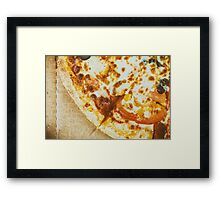 Italian Pizza With Mozzarella, Prosciutto, Tomatoes And Olives Framed Print